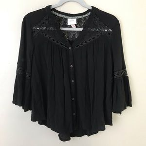 Knox Rose lace trim boho button down blouse